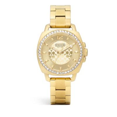 Mini Boyfriend Gold Plated Crystal Bracelet Watch