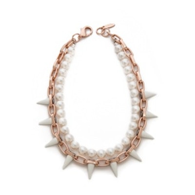 Rose Gold And White Spike Necklace
