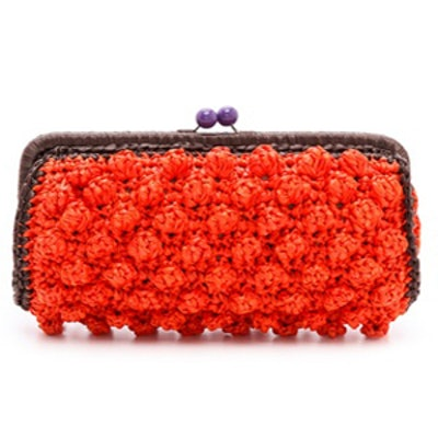 Solid Raffia Coral Clutch