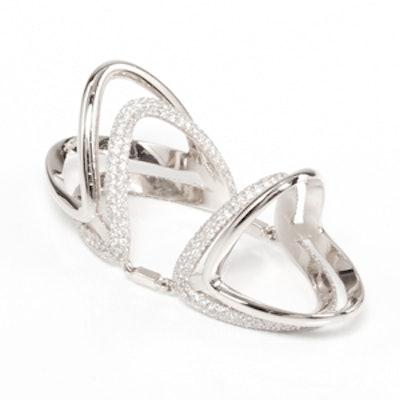 Double Bermuda Pave Diamond Knuckle Ring