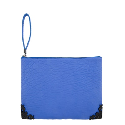 Carved Blue Leather Clutch