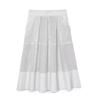 Leather Perforated Bradford Midi Skirt
