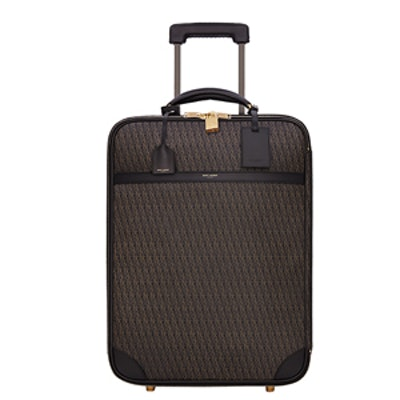 Carry-On Suitcase In Canvas And Leather