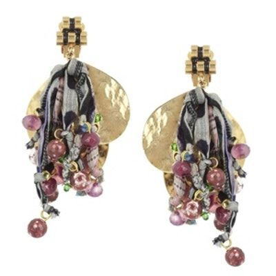 + V&A Tourmaline and Silk Clip Earrings