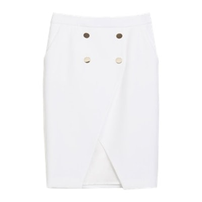Crossover Skirt With Buttons