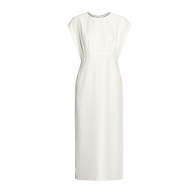 Embellished Chiffon-Paneled Silk Midi Dress