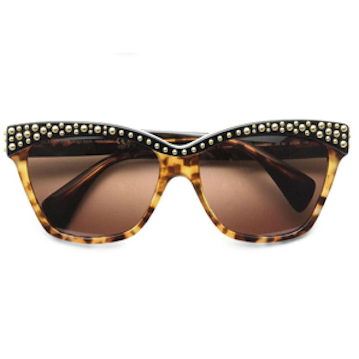 Studded Acetate Cat's Eye Sunglasses