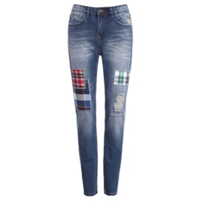 Checks and Holes Skinny Jeans
