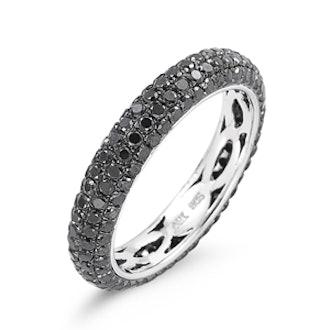 Black Diamond & Rhodium Ring