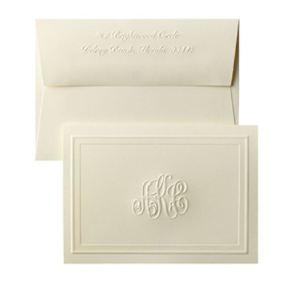 25 Monogrammed Embossed Notecards & Envelopes