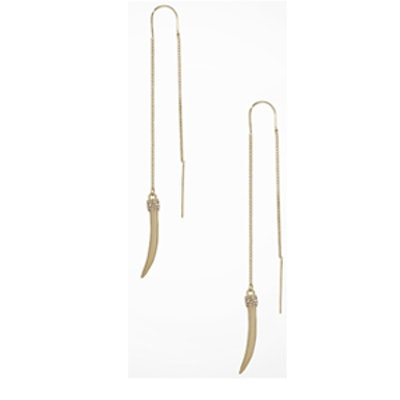 Pave Horn Pull-Through Earrings