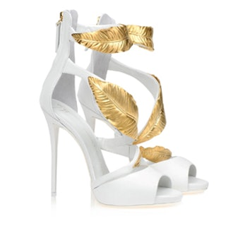 Leather Feather Embellished Sandals