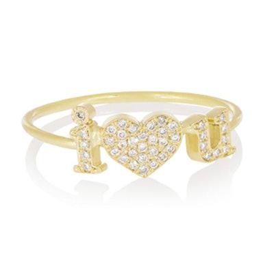 I Love You Diamond Pave Ring
