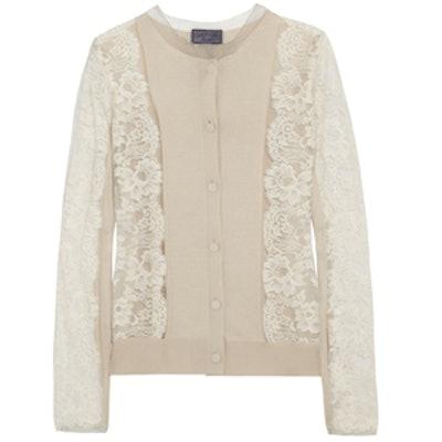 Lace & Silk-Blend Cardigan
