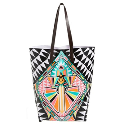 Cosmic Fountain Leather Handle Tote
