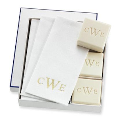 Monogrammed Soap & Hand Towel Set