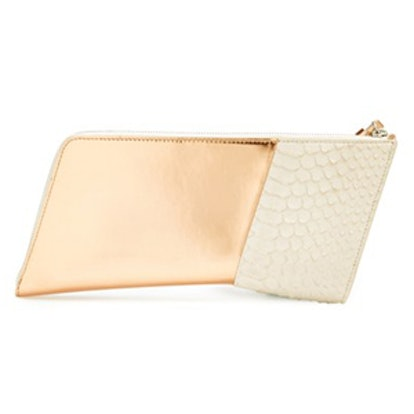 Leather & Snakeskin Clutch