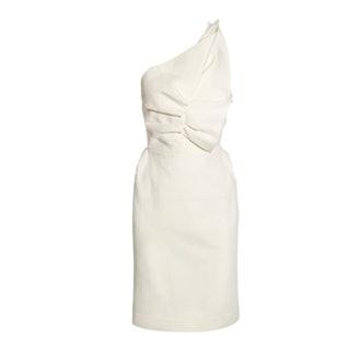One-Shoulder Wool Blend Dress