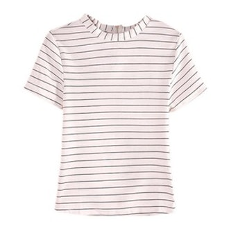 Striped Casual White T-Shirt
