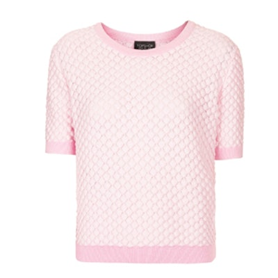 Pink Textured Short-Sleeved Sweater