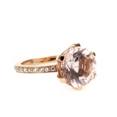 Ring with Faceted Morganite and Diamonds