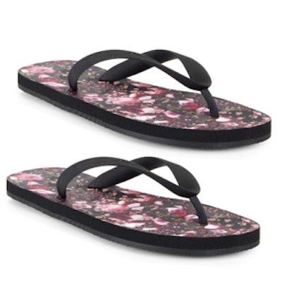 Floral-Print Flip Flops