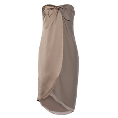 Wrap-Effect Satin and Crepe Dress