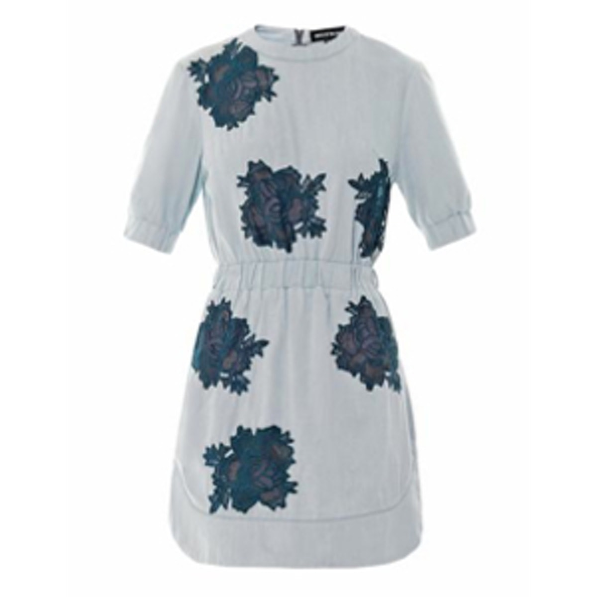 Lace-Insert Denim Dress