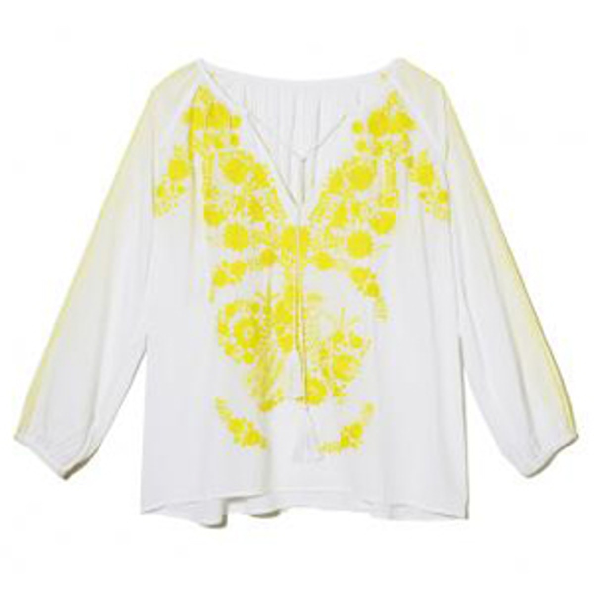White and Yellow Embroidered Blouse