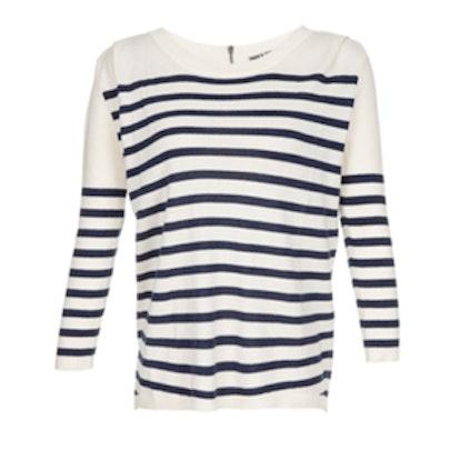 Stripe Sweater With Zipper
