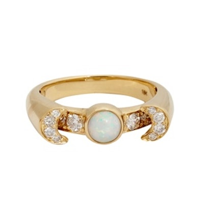 Fine Jewelry Opal, Diamond and Gold Luna Ring