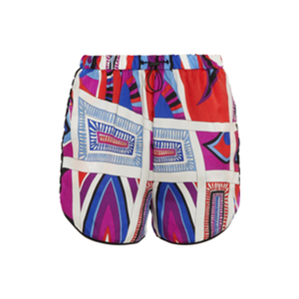 Sequin-Trimmed Printed Silk Shorts
