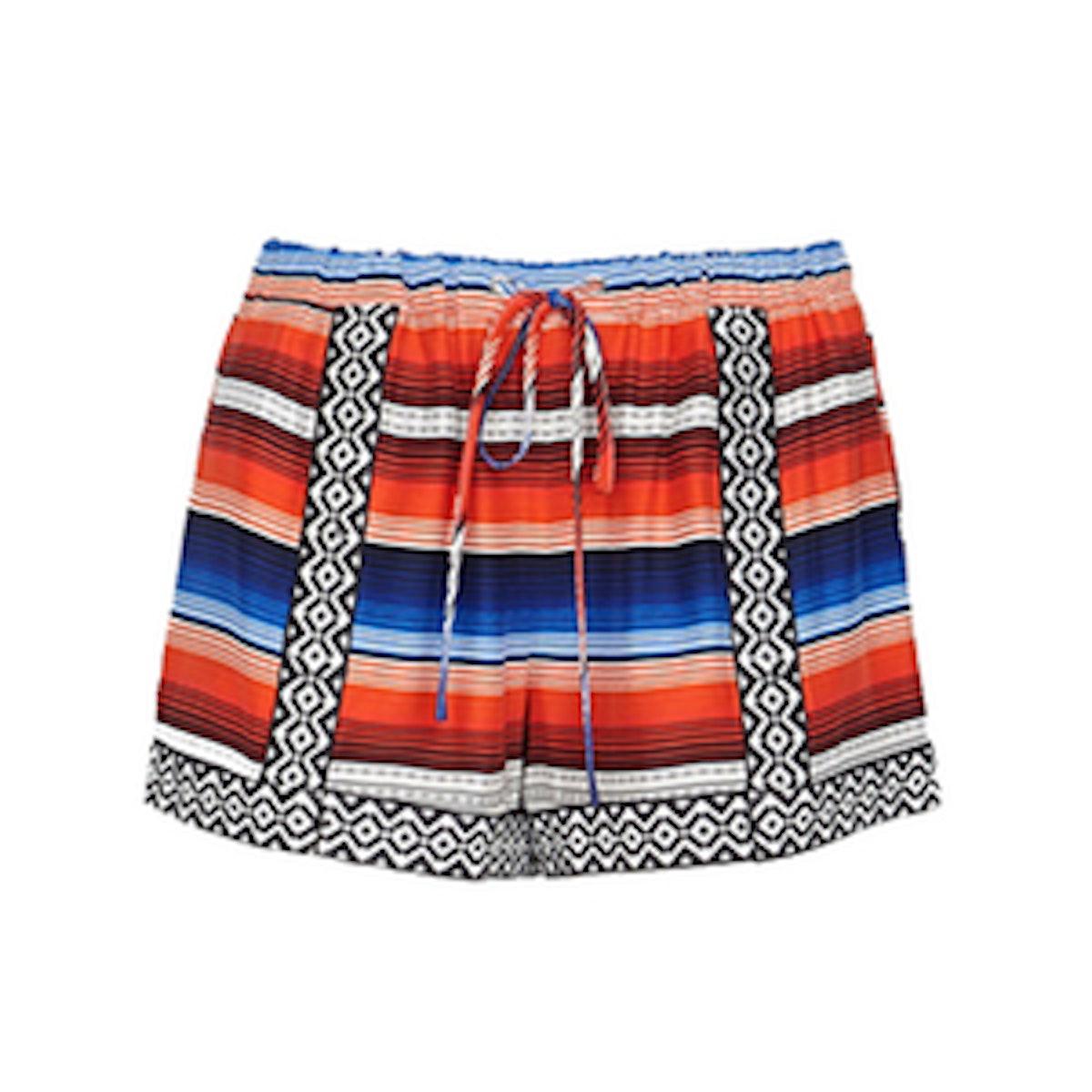 Applique Printed Drawstring Shorts