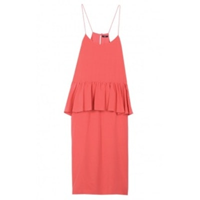 Silk Strappy Ruffle Dress