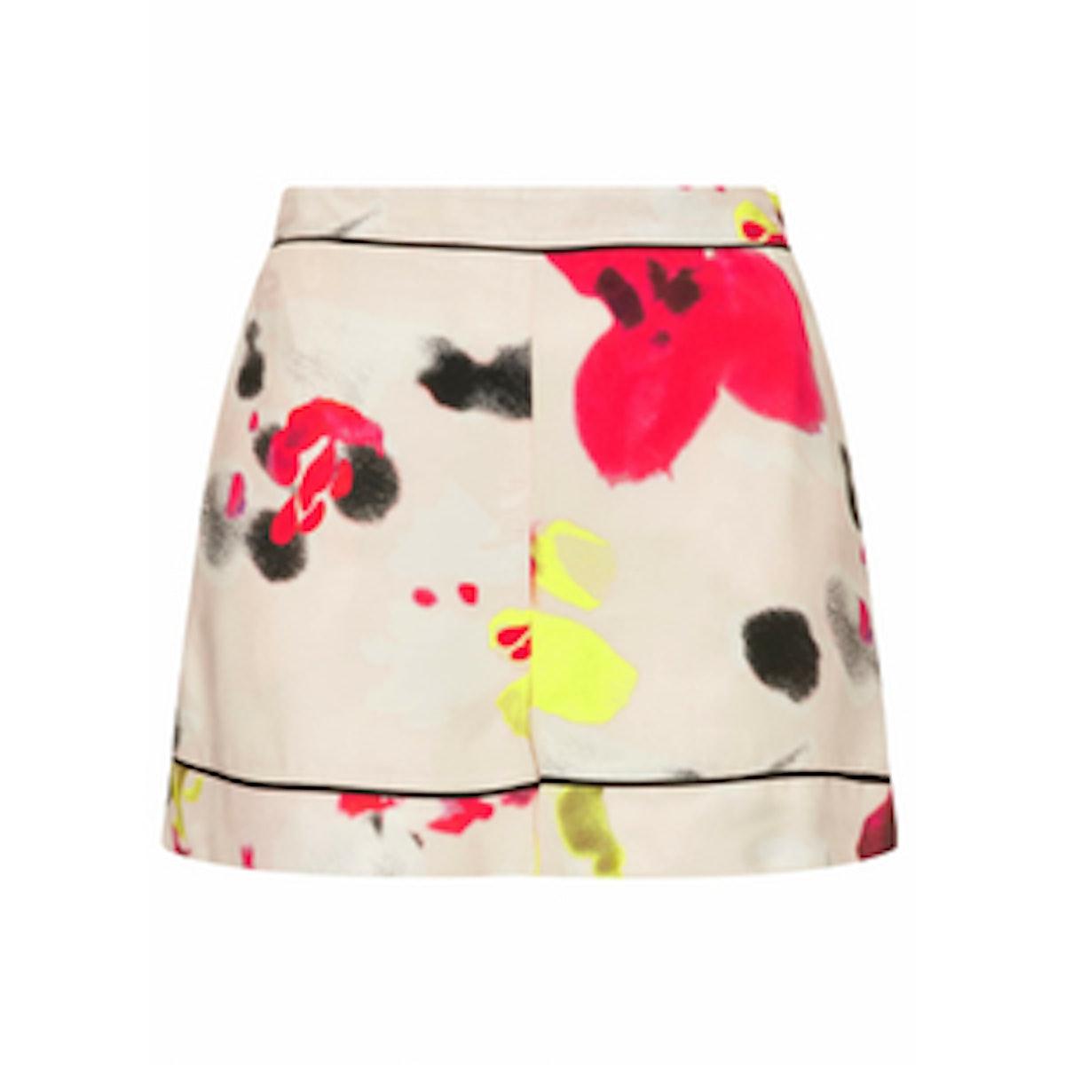Blurred Floral Print Shorts