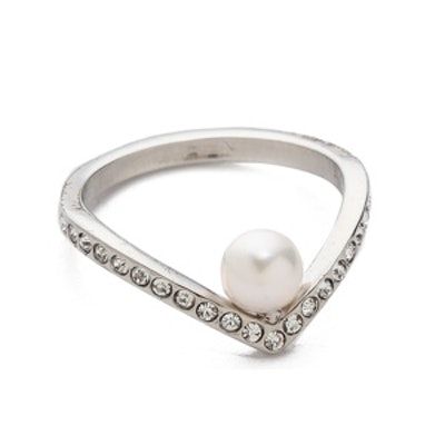 Ultra-Mini V Pearl and Crystal Ring