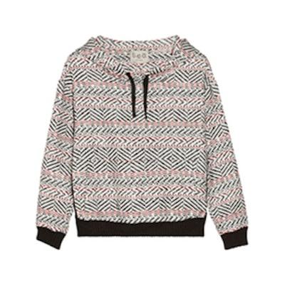 Lace-Trimmed Hooded Sweatshirt