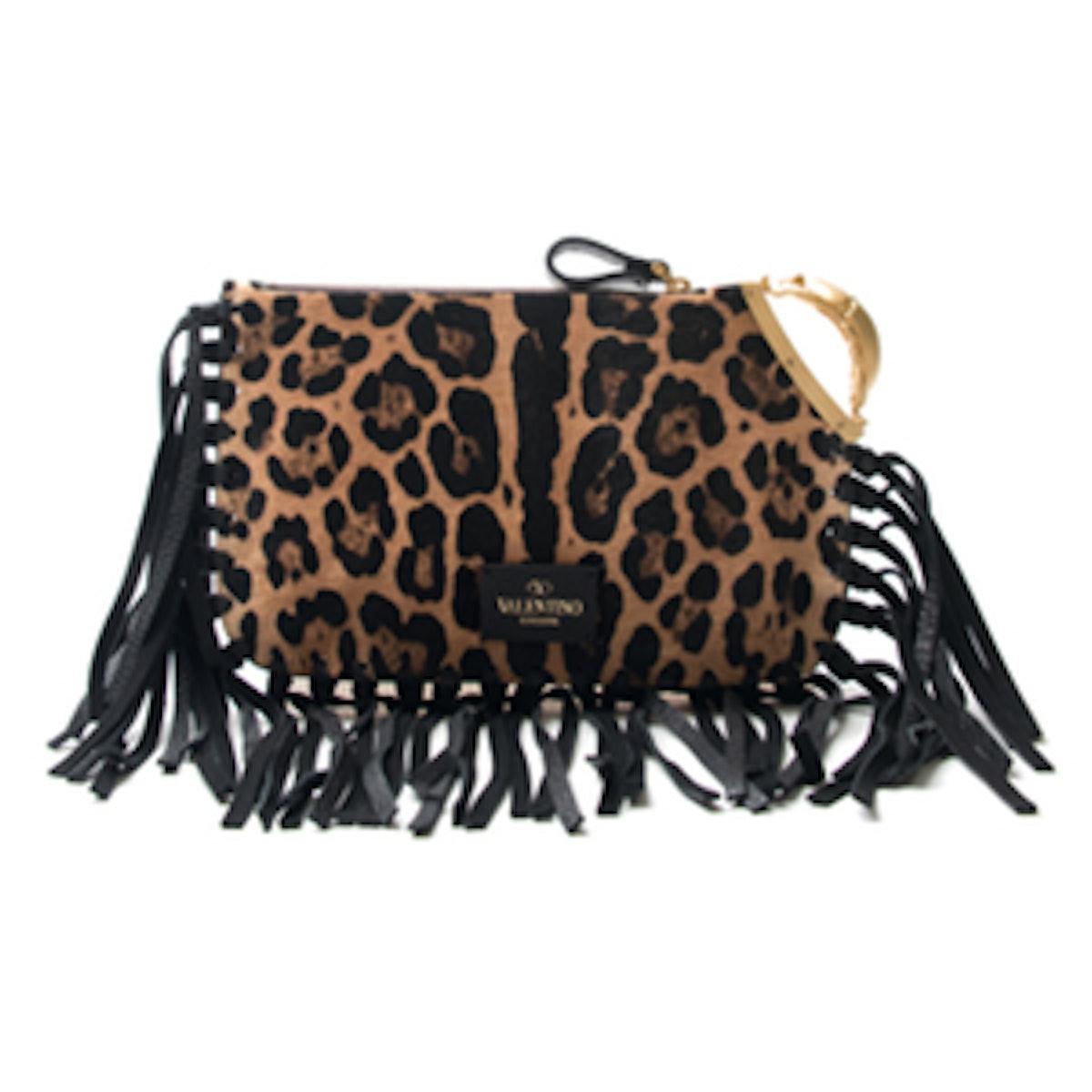 Leopard Fringe Clutch