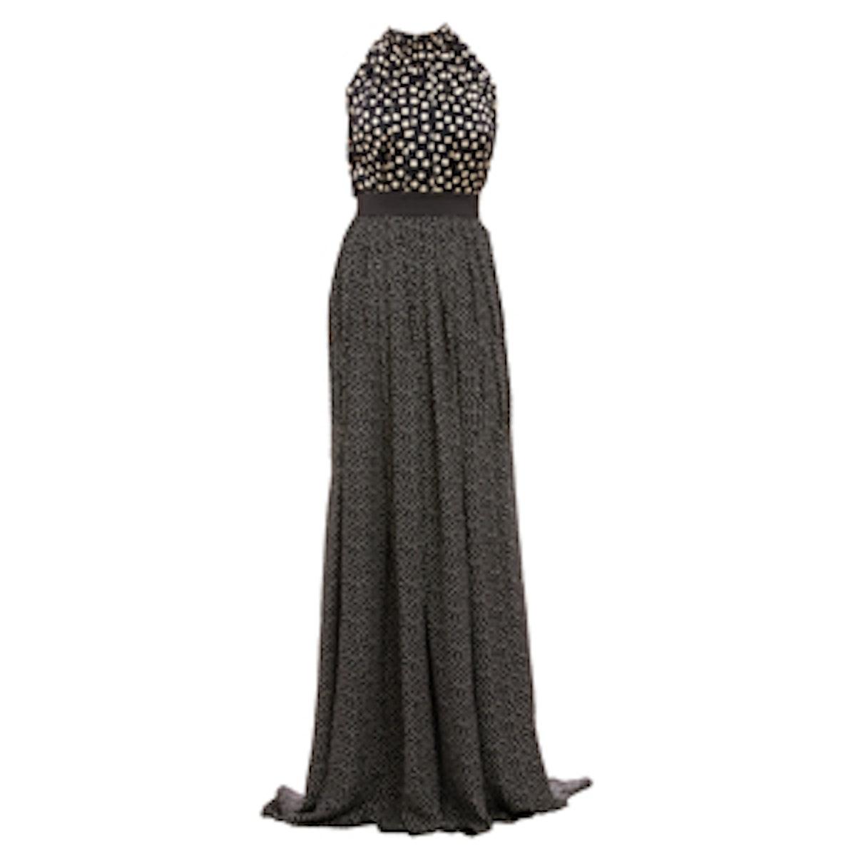 Mixed Dot-Print Halter Gown