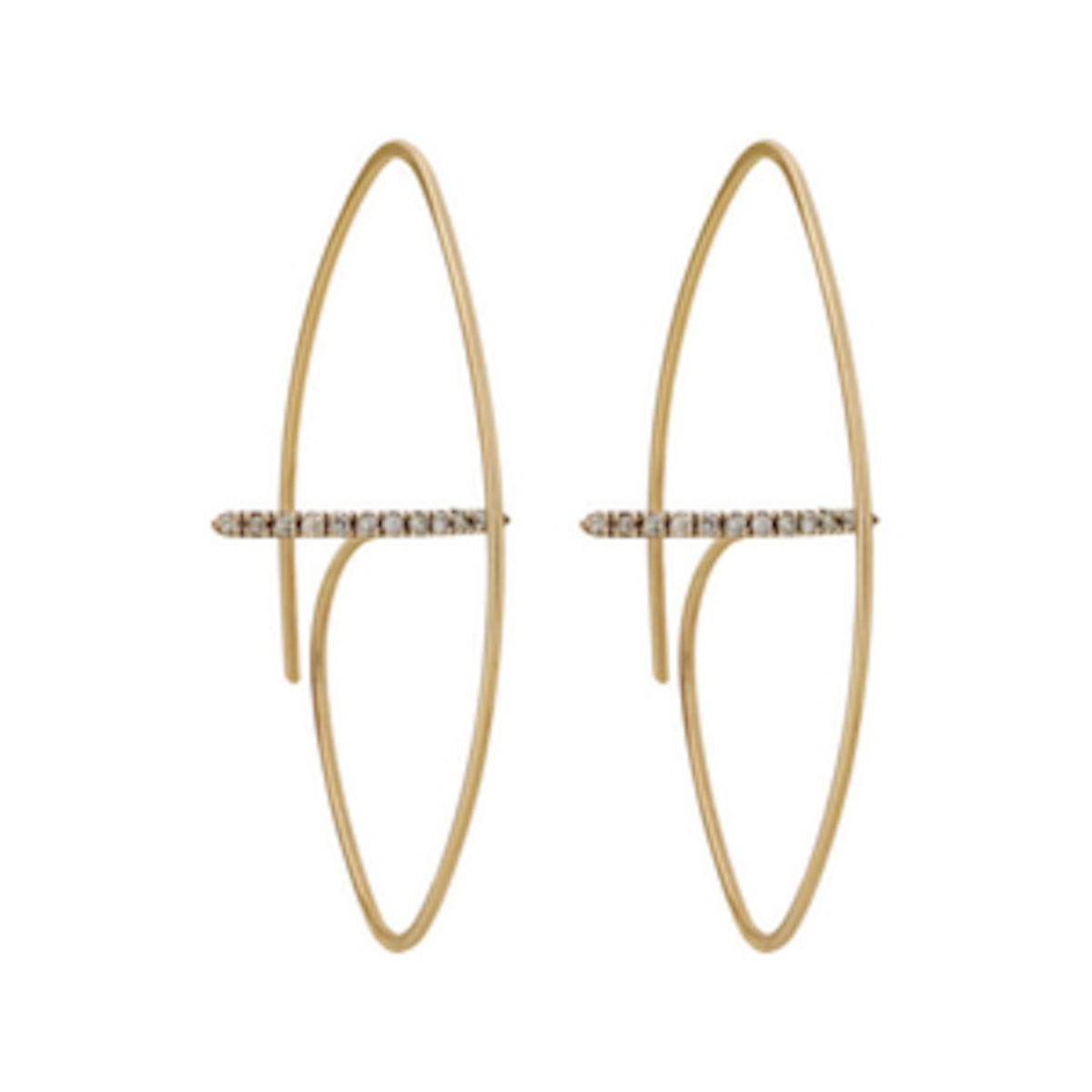 Floating Diamond Bar Oval Earring