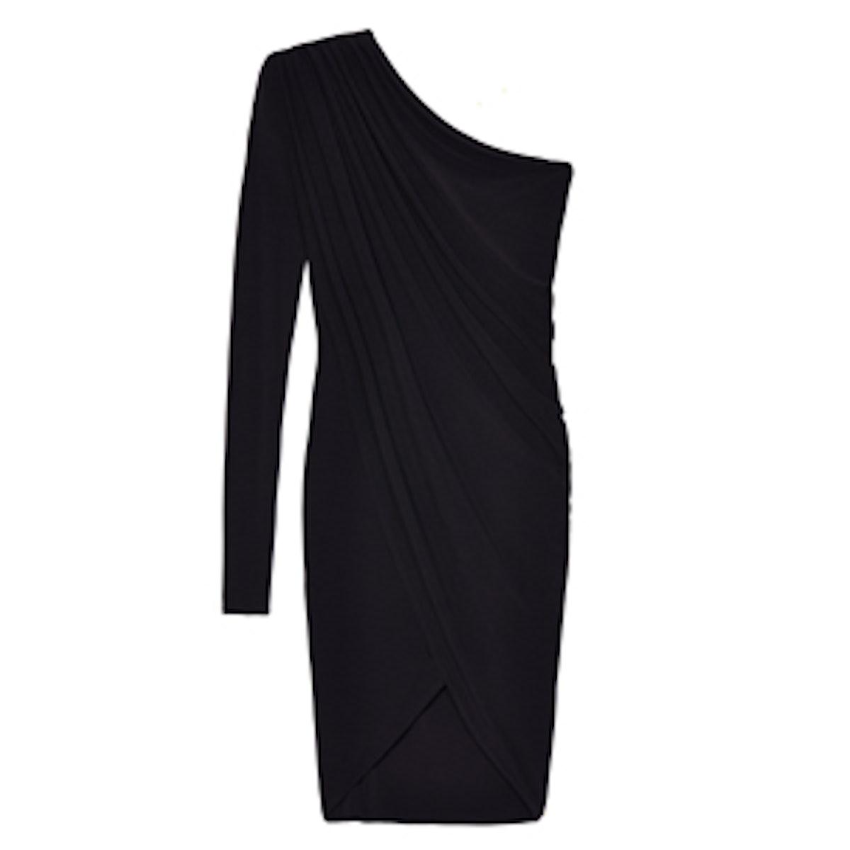 Chiffon One Sleeve Draped Dress