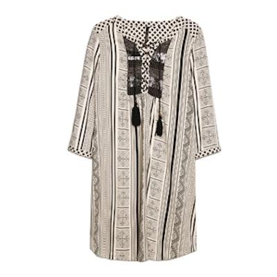 Embellished Ethnic Print Dress