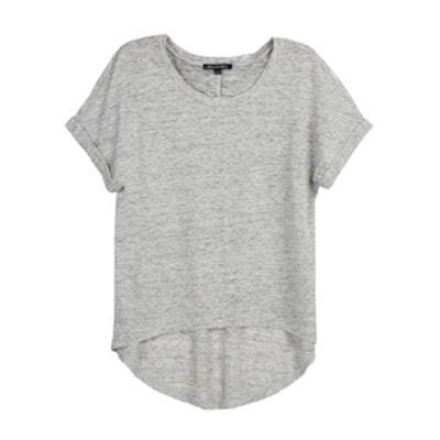 Scoop Neck High Low Linen Top