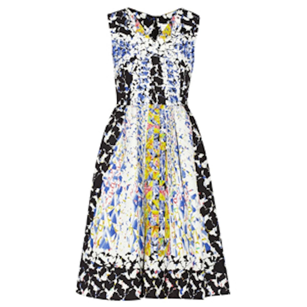 Printed Silk-Blend Cloqué Dress