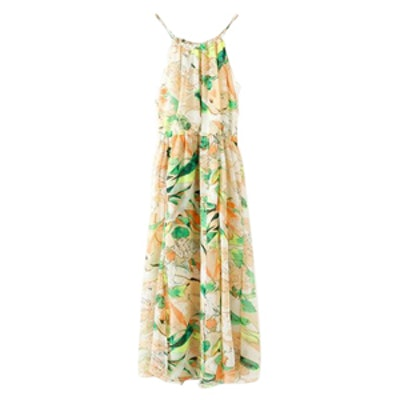 Strapped Shoulder Floral Print Dress