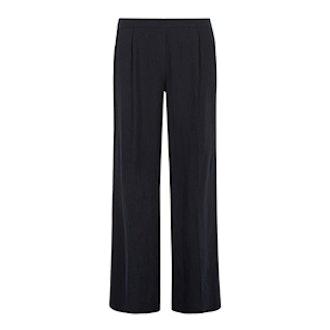 Navy Linen Wideleg Trousers