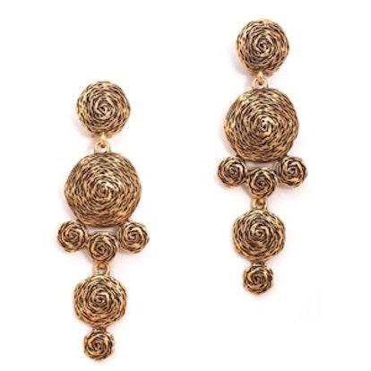 Swirl Drop Clip Earrings