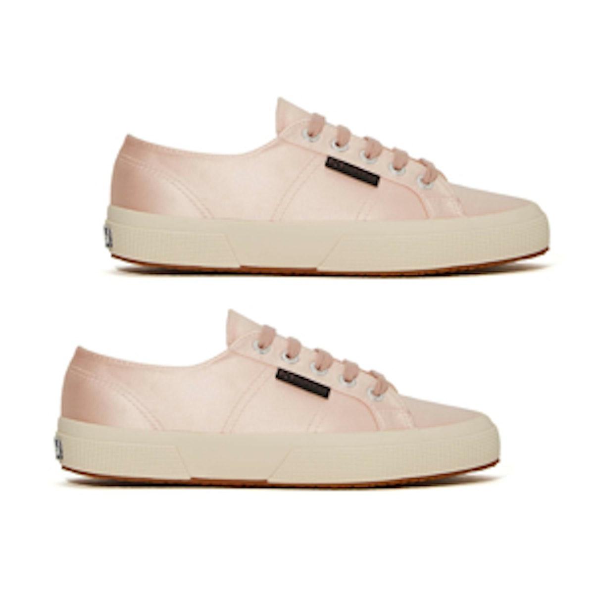 Satin Sneaker in Light Pink