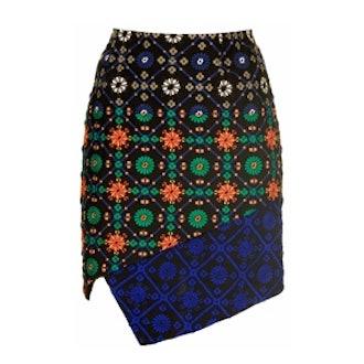 Tile Embroidered Wrap Skirt