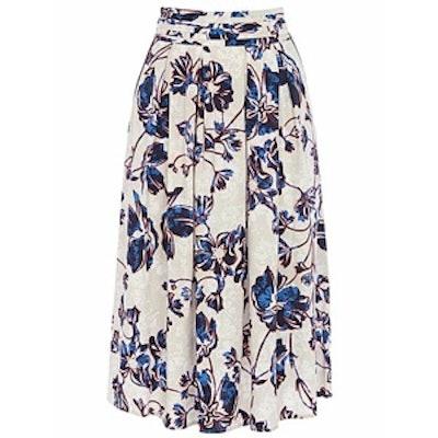 Outline Floral Midi Skirt
